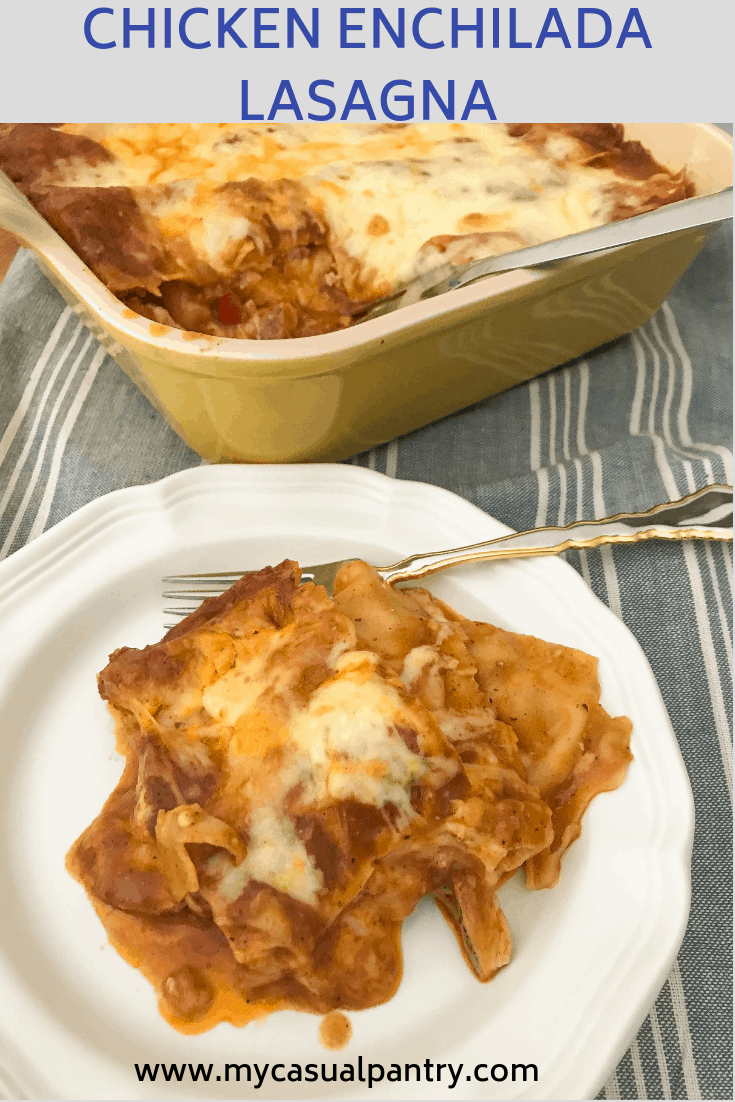 plate of lasagna with the casserole dish in the background