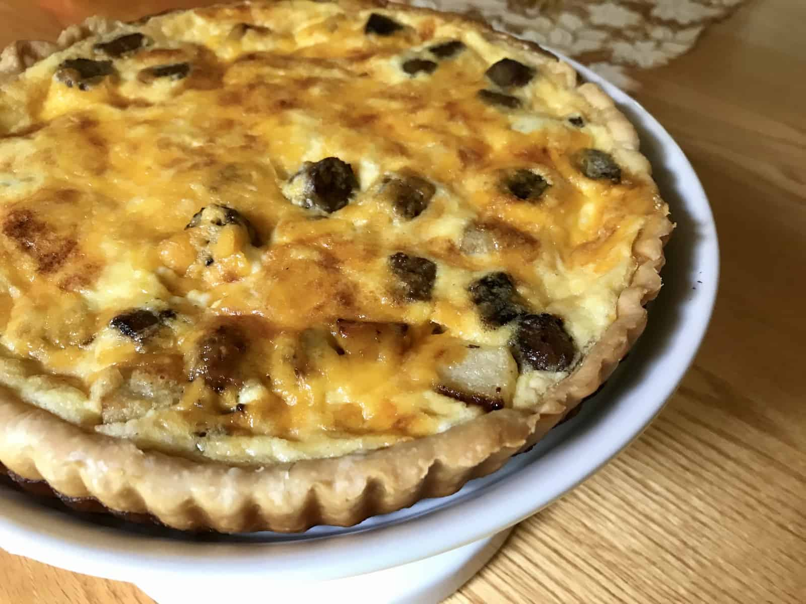 Sausage, Apple, and Cheddar Quiche