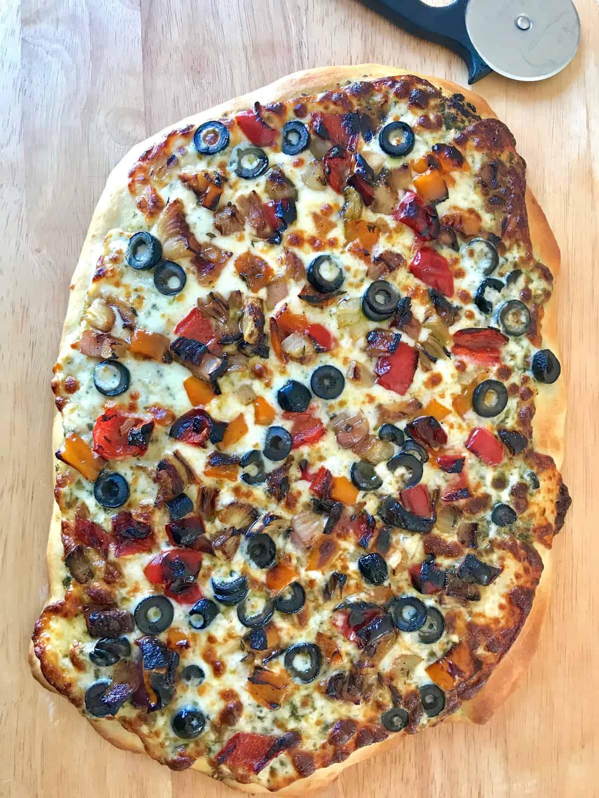 Roasted Veggie and Pesto Pizza