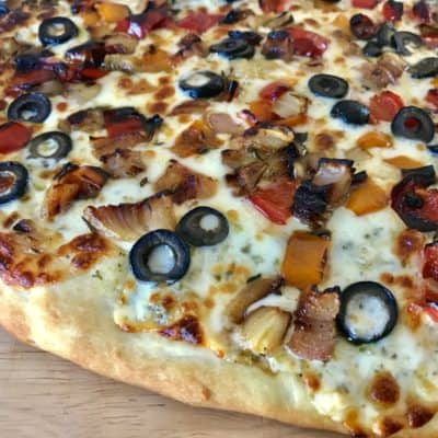 Roasted Vegetable and Pesto Pizza