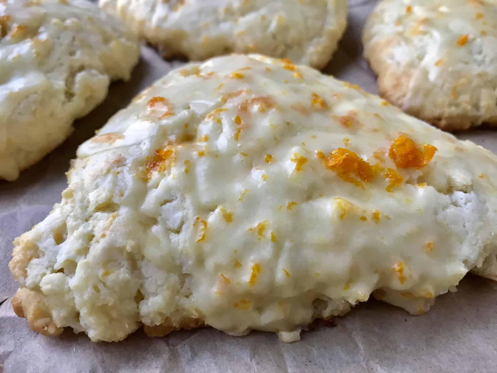 close up of orange scone