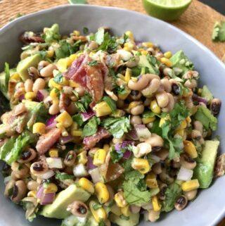 Black-Eyed Pea Salad with Corn Bacon and Avocado