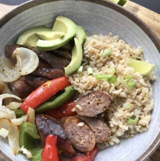 bowl of rice, sausage and peppers
