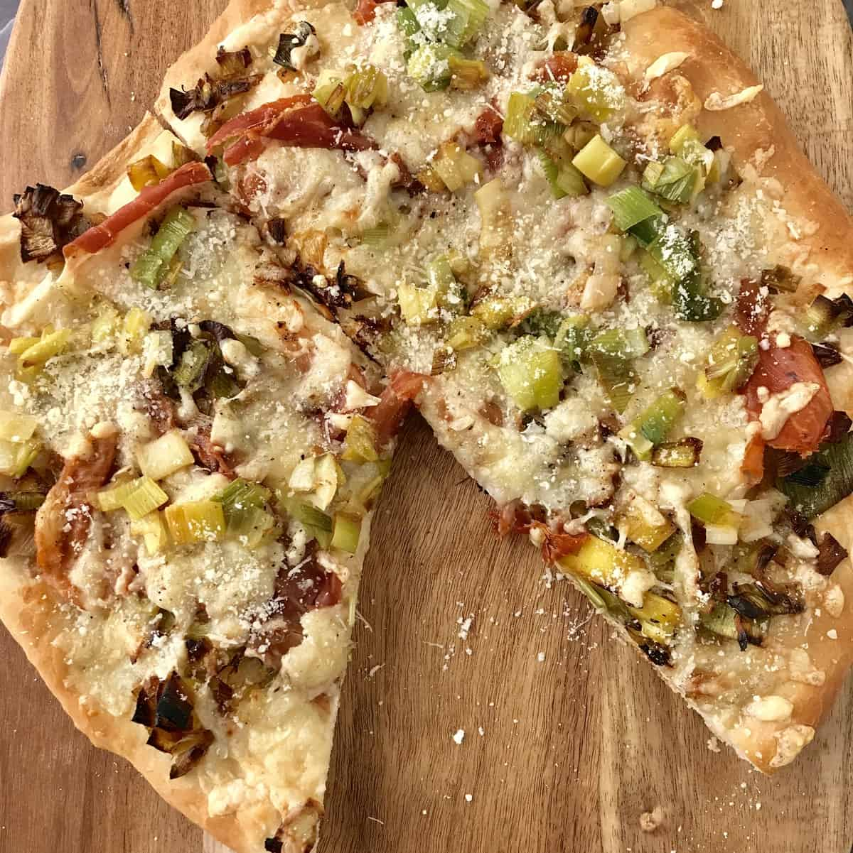 Prosciutto, Leek and Gruyere Pizza