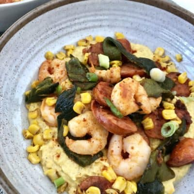 Shrimp and Andouille with Roasted Corn Puree
