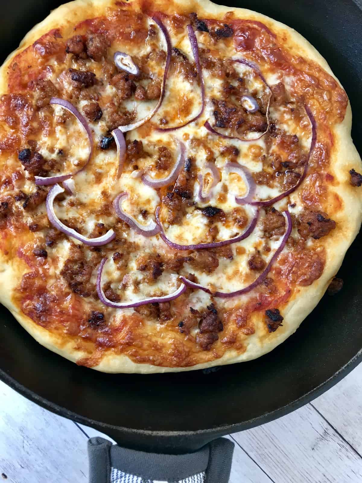 Sausage and Onion Pan PIzza