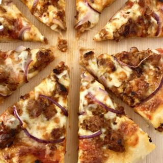 pan pizza cut into wedge slices