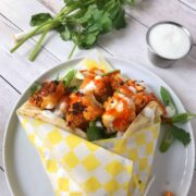Buffalo Cauliflower Naan Wrap