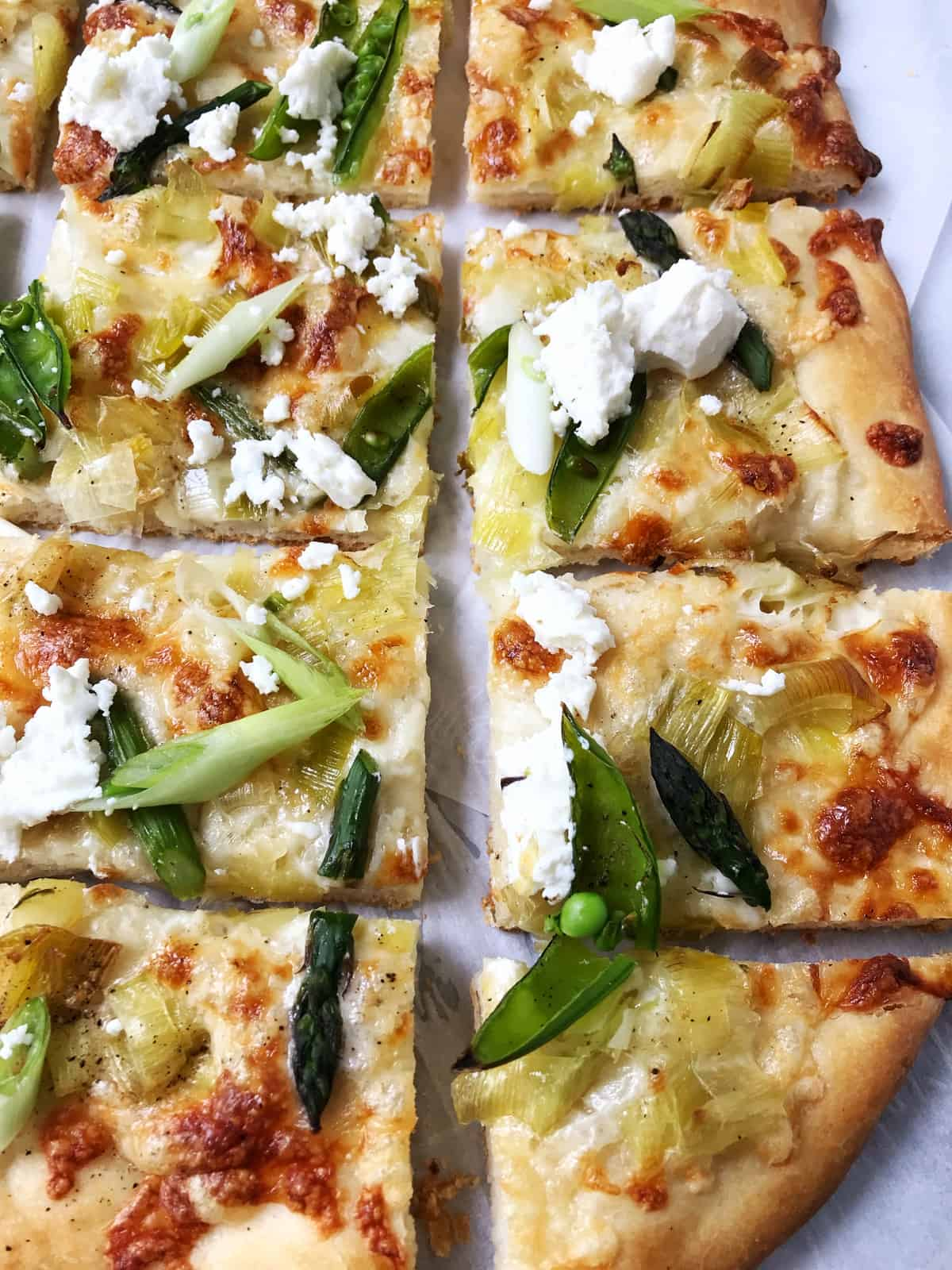 Spring Pizza with Asparagus, Leeks and Sugar Snap Peas