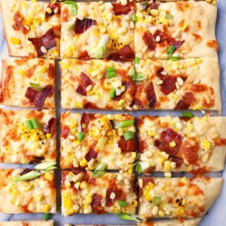 Corn, Bacon, and Pine Nut PIzza