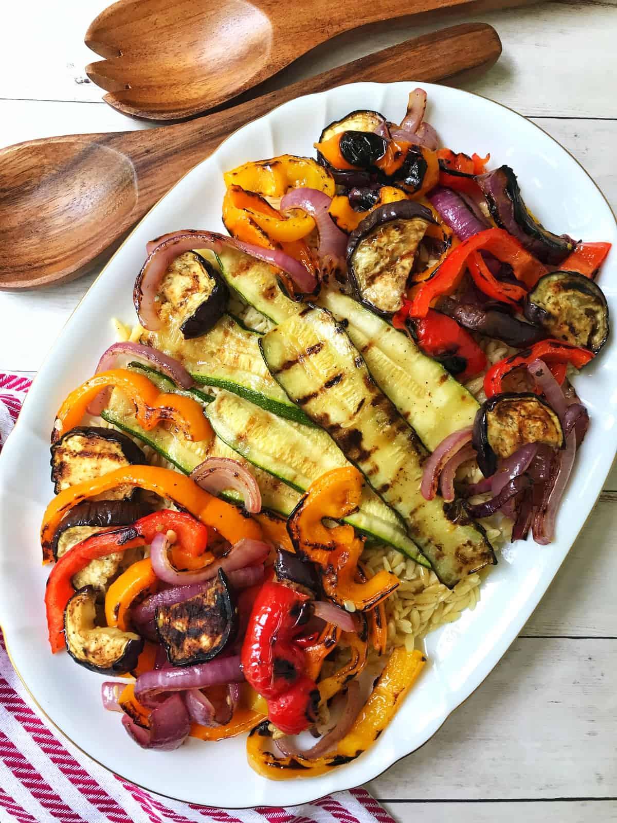 Grilled Vegetables over Orzo with Lemon Dijon Vinaigrette
