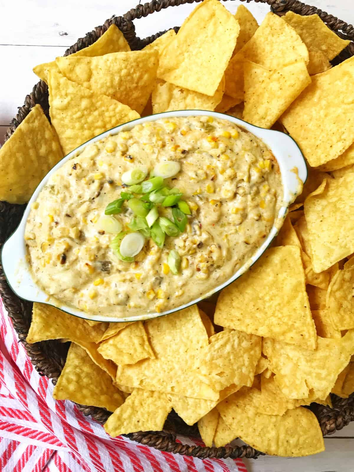 Corn Dip with tortilla chips