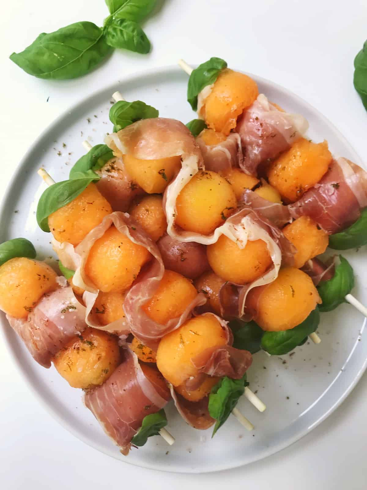 Prosciutto Melon Basil Skewers with Chili Lime Salt