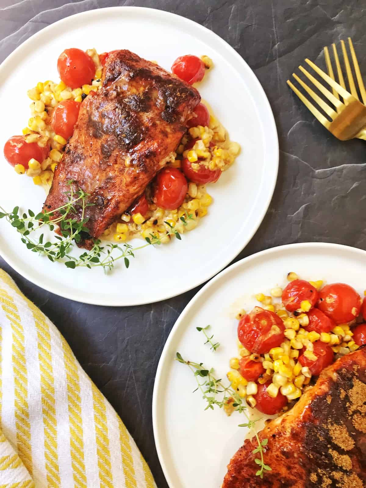 Brown Sugar Spiced Salmon with Grilled Corn and Blistered Tomatoes