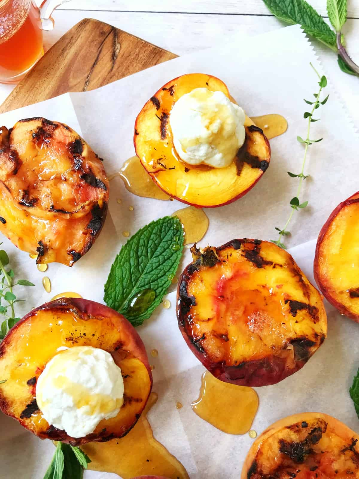 Grilled Peaches with Goat Cheese and Mint Thyme Honey