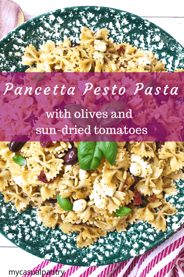 Pancetta Pesto Pasta with Olives and Sun-Dried Tomatoes