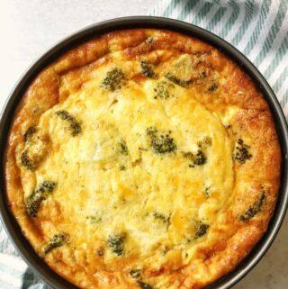 Broccoli, Ham and Cheddar Deep Dish Quiche