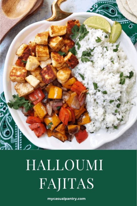 Halloumi fajitas with peppers, onions, and rice