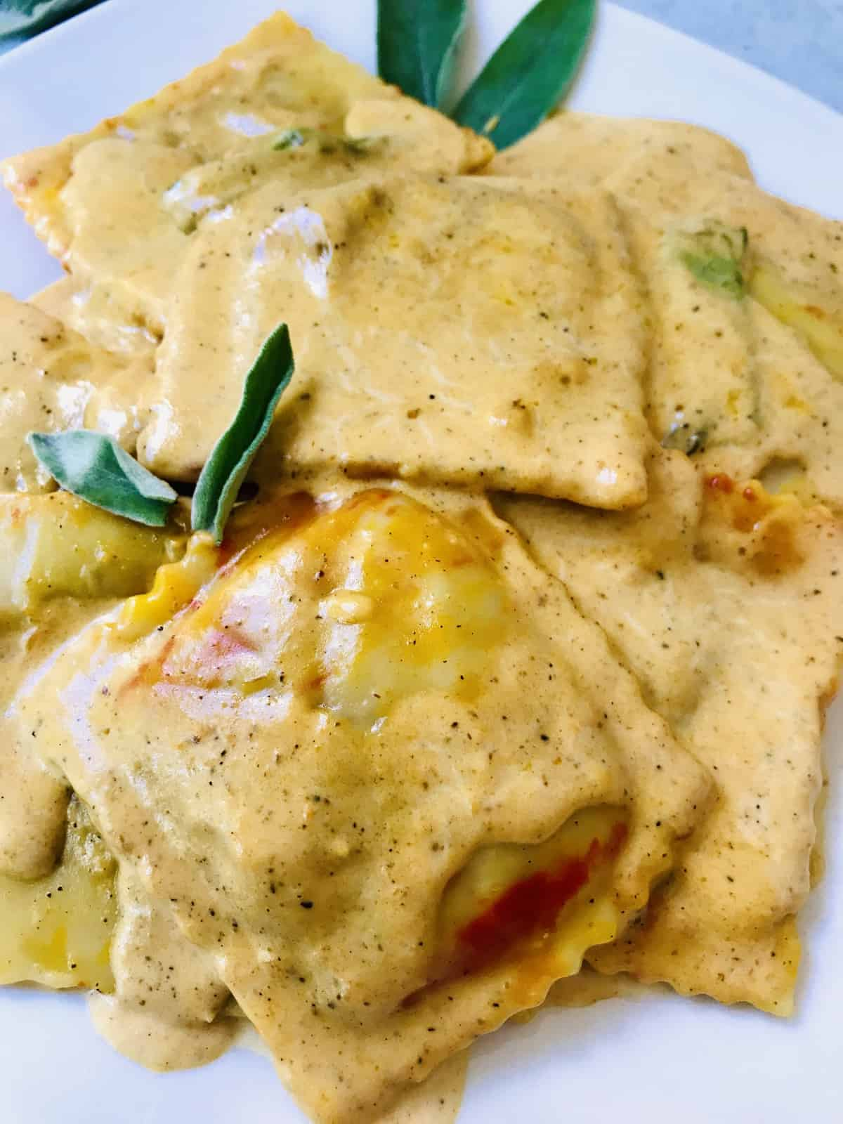 Pumpkin Sage Ravioli close up