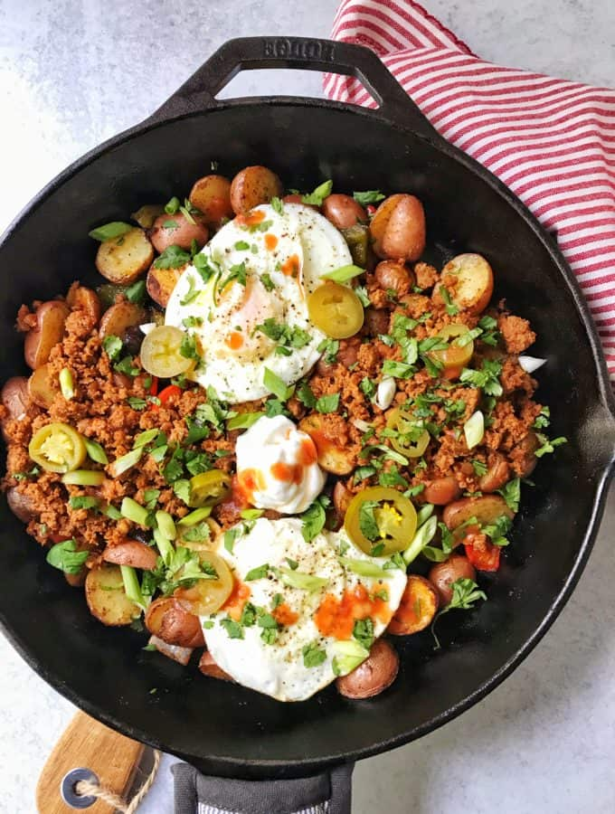 Roasted Potato Hash with Chorizo and Eggs