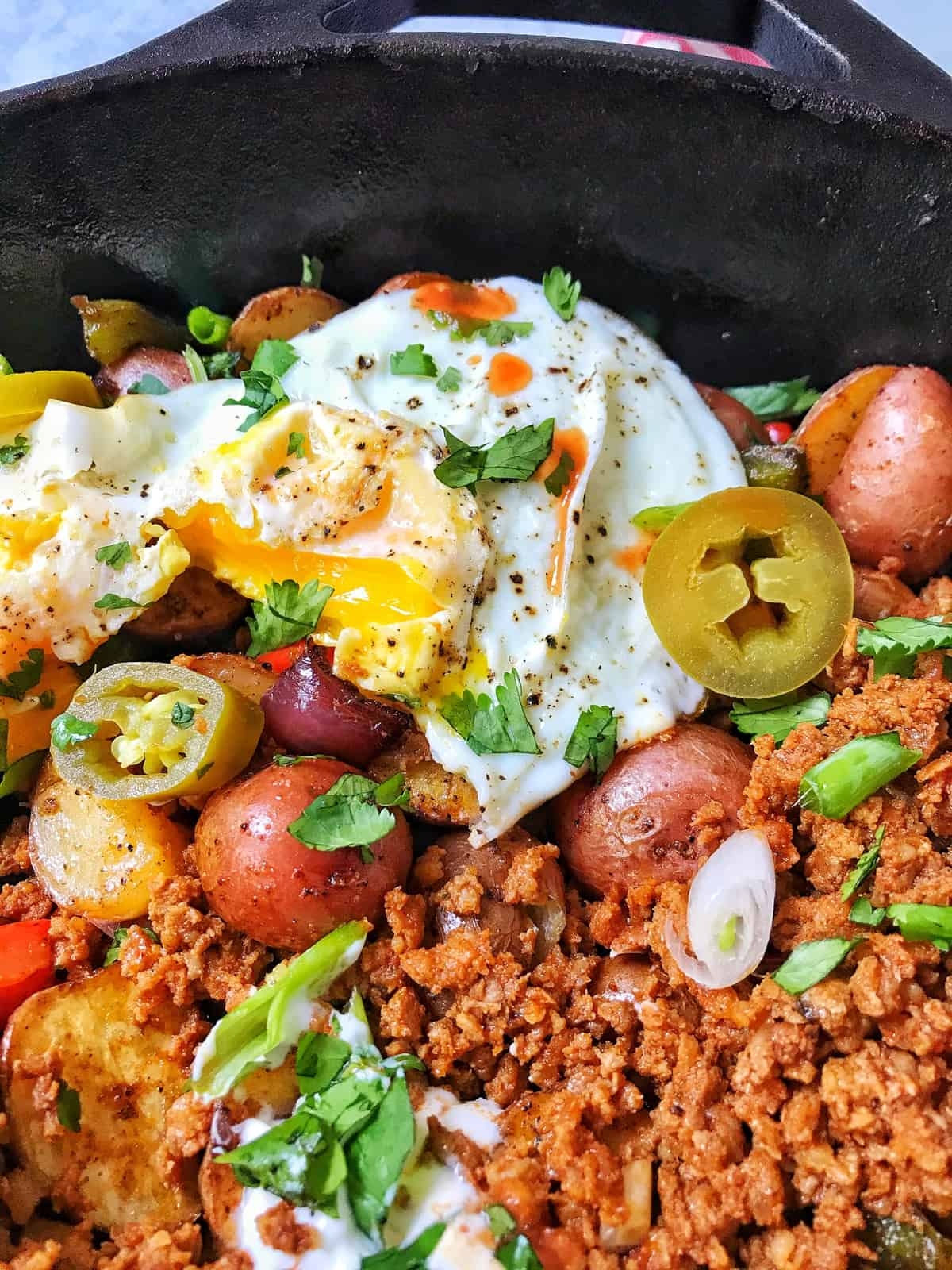 close up of Roasted Potato Hash with Chorizo and Eggs
