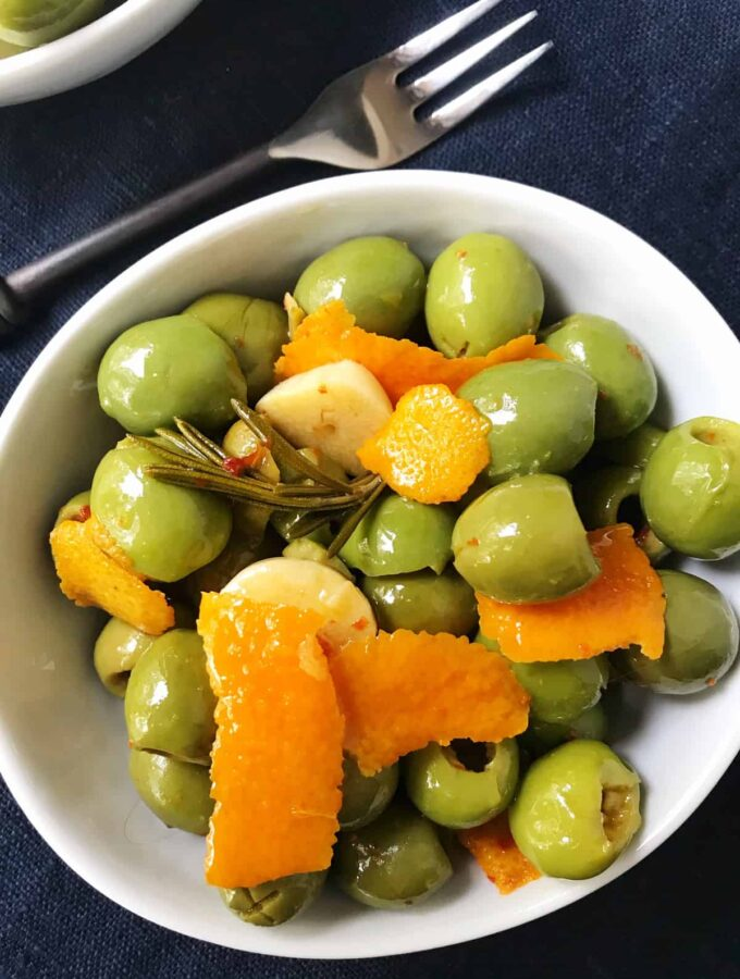 Rosemary Orange and Garlic Marinated Olives