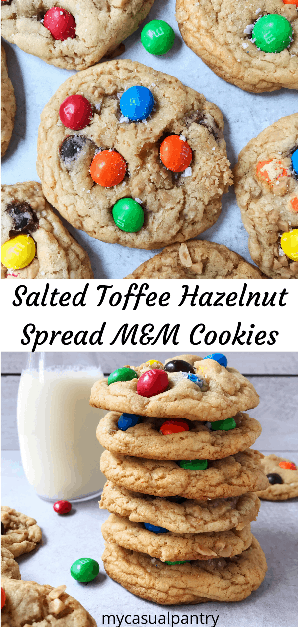 Salted Toffee Hazelnut Spread M&M Cookies