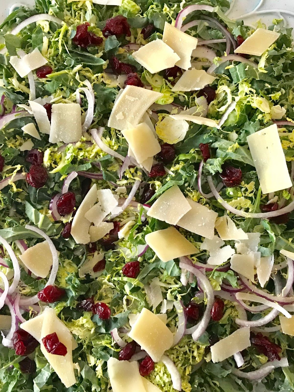 close up of brussels sprout and kale salad with parmesan