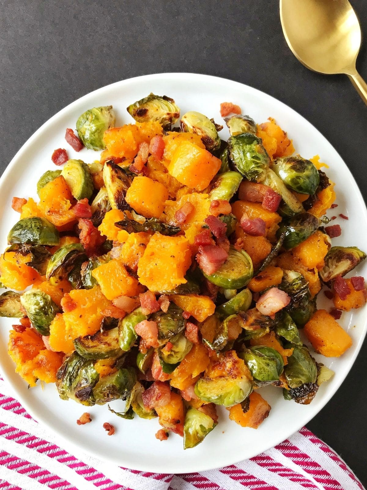 plate of brussels and butternut squash