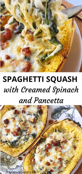 Spaghetti Squash with Creamed Spinach and Pancetta