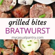 sliced brats with mustard sauce