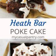 chocolate cake garnished with Cool whip and heath bars