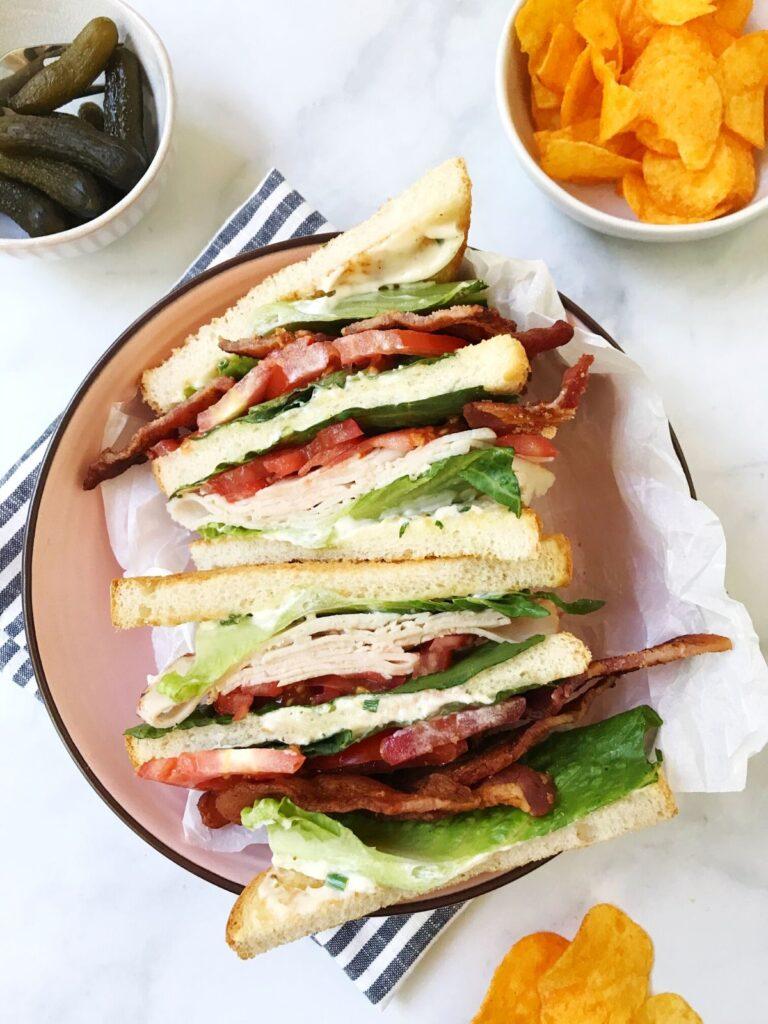 turkey club sandwich cut in half