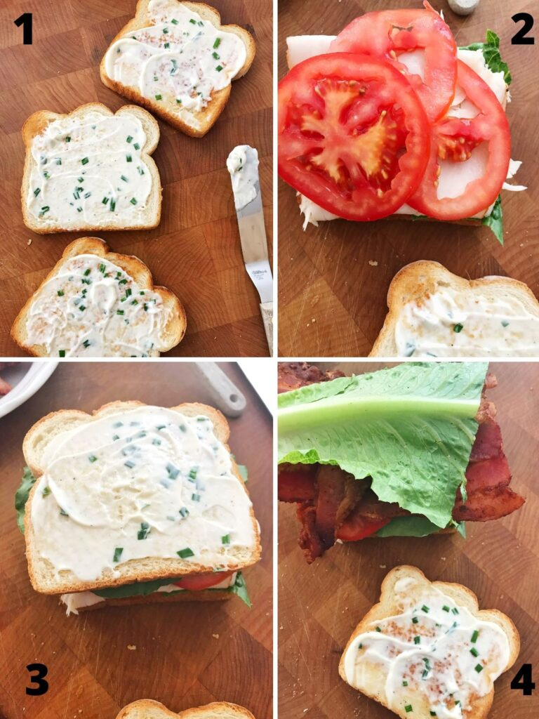 step by step photos of assembling the sandwich