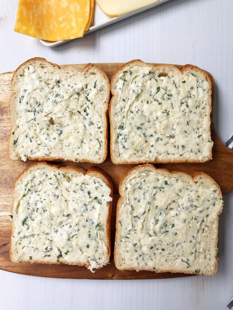 bread slathered with garlic butter