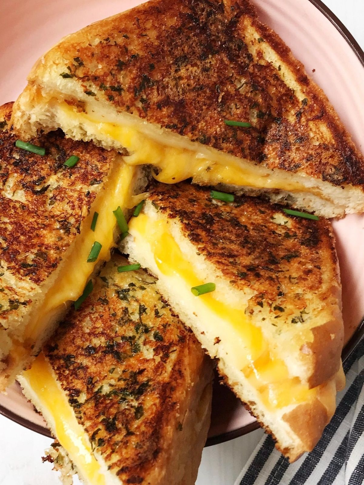 grilled cheese cut diagonally