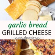 plate of ingredients and grilled cheese with cheese pull
