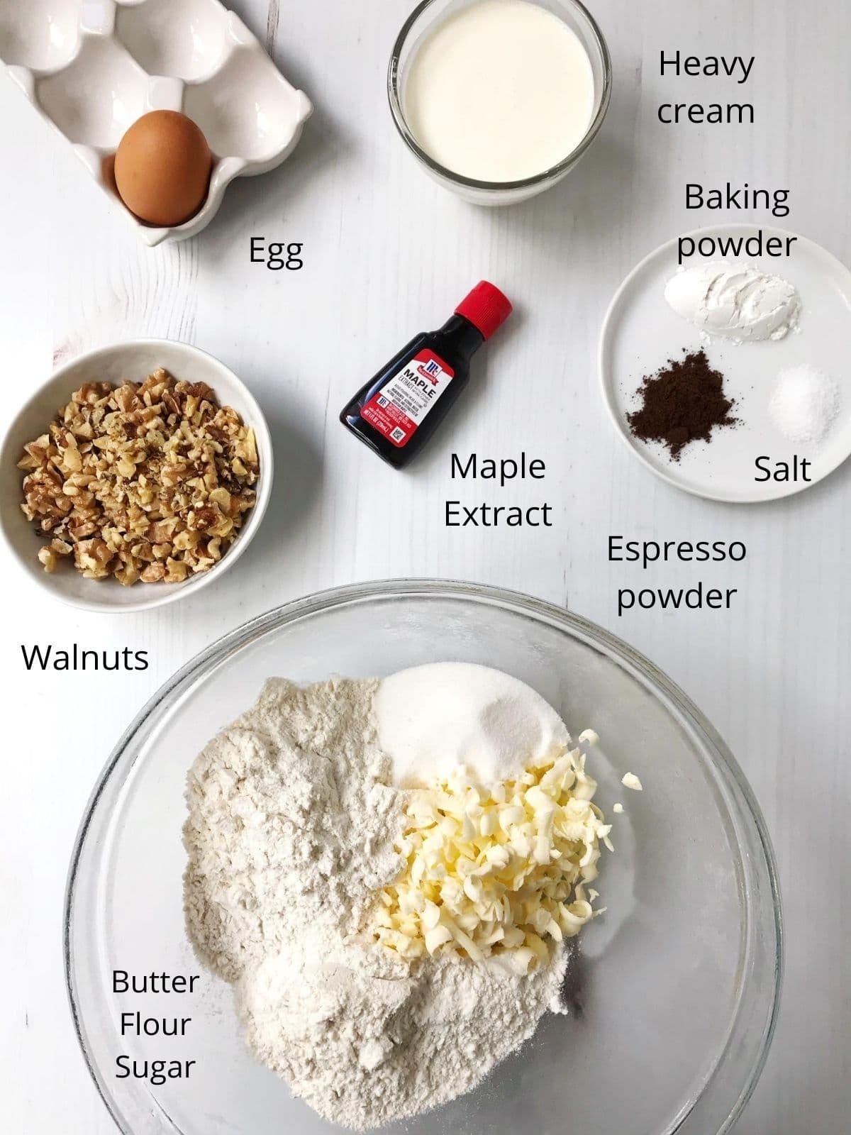 diagram of labeled ingredients in scones