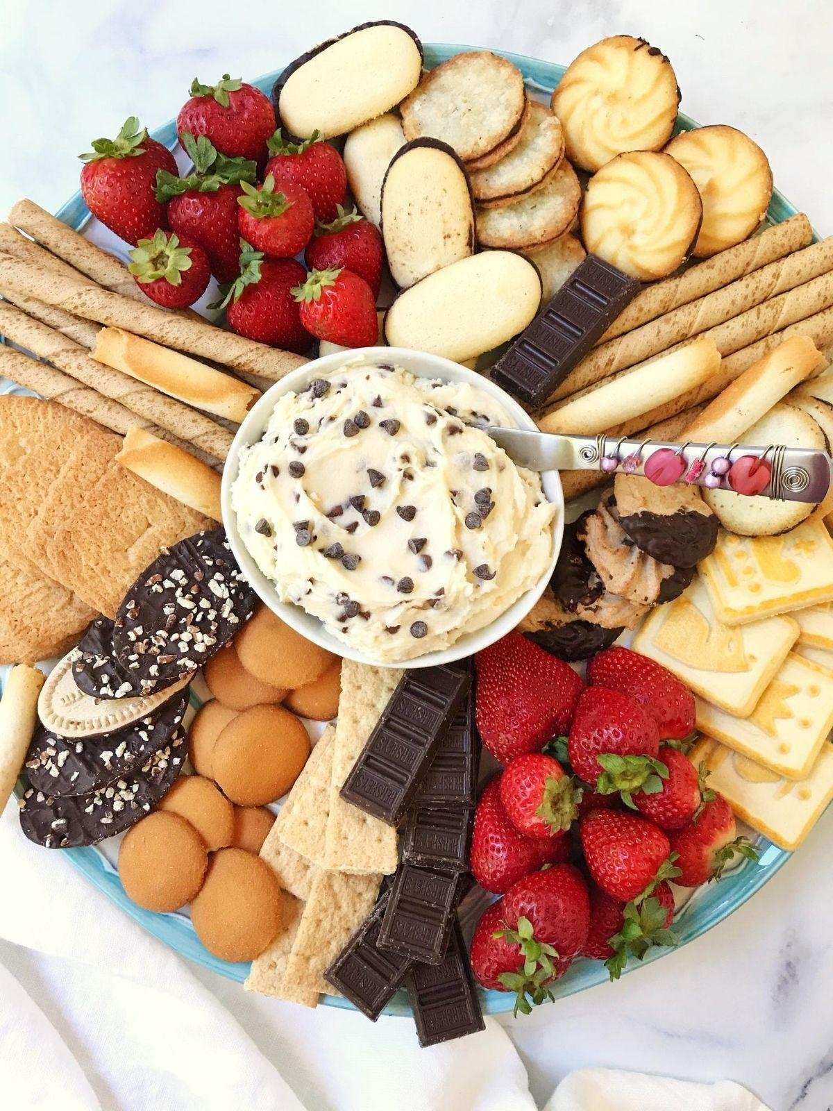 platter of cookies, fruit and dip