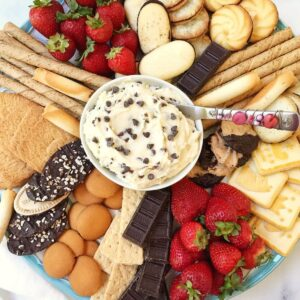 platter of dip, cookies, and fruit