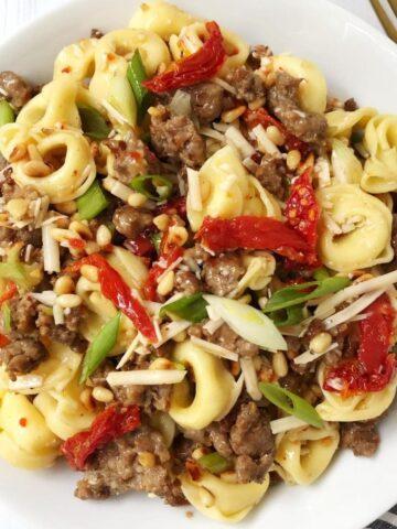 serving bowl of pasta salad
