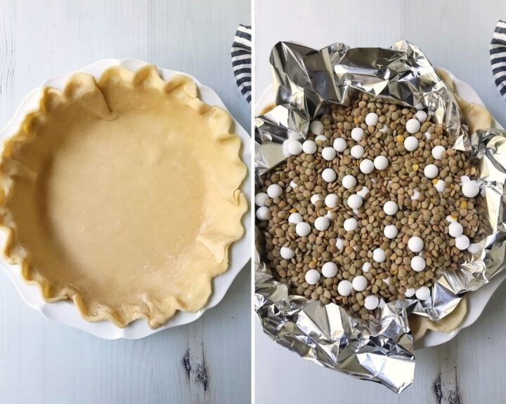 pie dish with unbaked crust and dish filled with pie weights