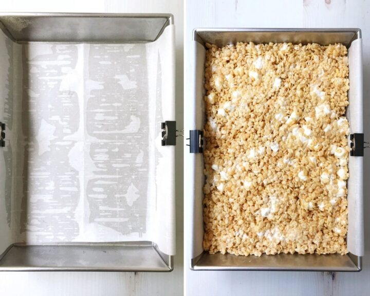 prepared pan with parchment and pan filled with cereal mixture