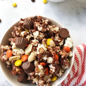 bowl of chocolate-covered popcorn