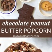 bowl of chocolate coated popcorn and bowls of ingredients