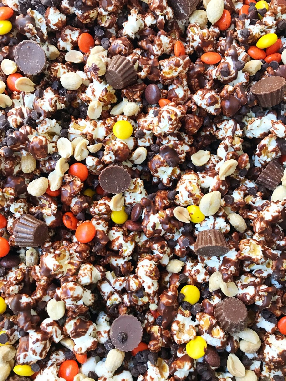 sheet pan of chocolate-coated popcorn