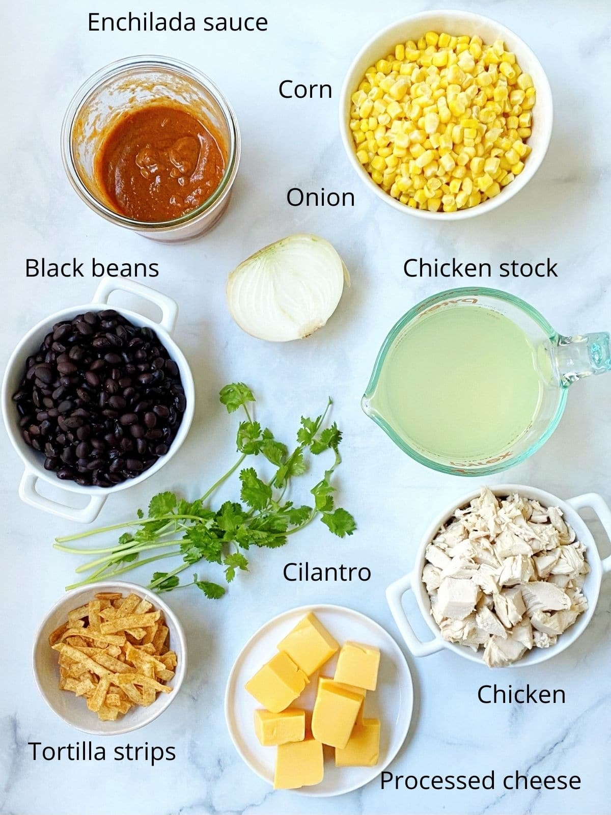 dishes of corn, black beans, sauce, stock, chicken, onion, cheese