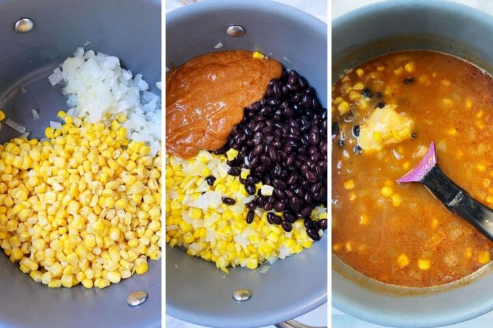 corn and onion in pan, black beans and enchilada sauce added, and cheese added to pot