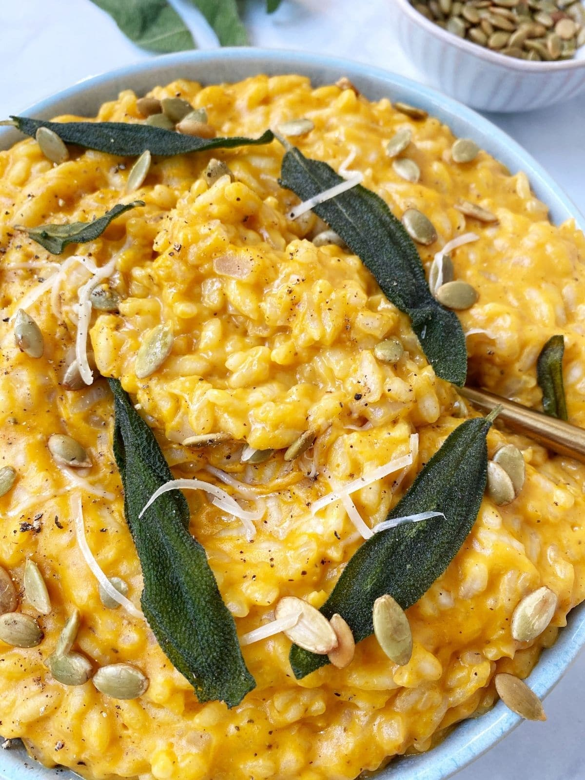close up of a bowl of creamy pumpkin risotto