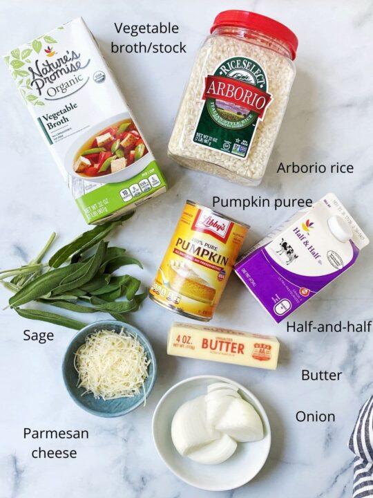 display of rice, broth, pumpkin, cream, cheese, sage, onion